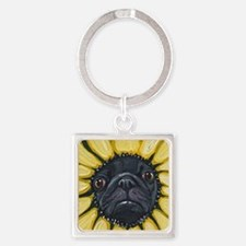 Sunflower Black Pug Dog Art Keychains