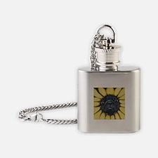 Sunflower Black Pug Dog Art Flask Necklace