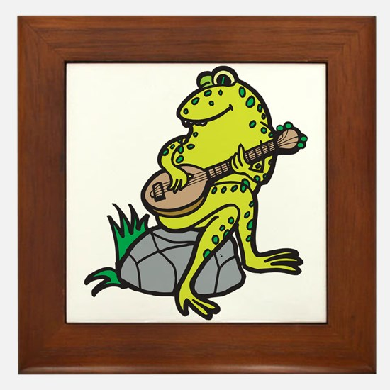 Silly Frog Play Guitar Framed Tile