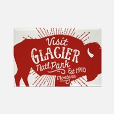 Glacier Buffalo Sunburst Rectangle Magnet