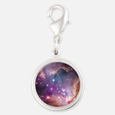 galaxy stars space nebula pink Silver Round Charm