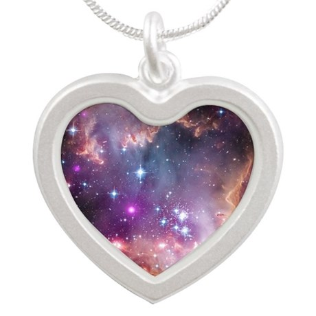galaxy stars space nebula pi Silver Heart Necklace by ...