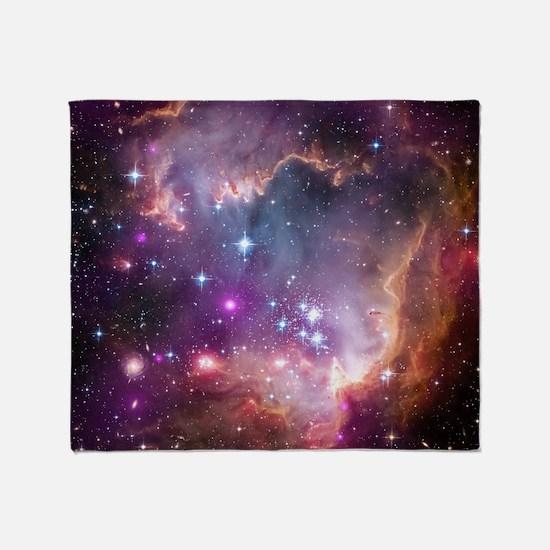 galaxy stars space nebula pink purpl Throw Blanket