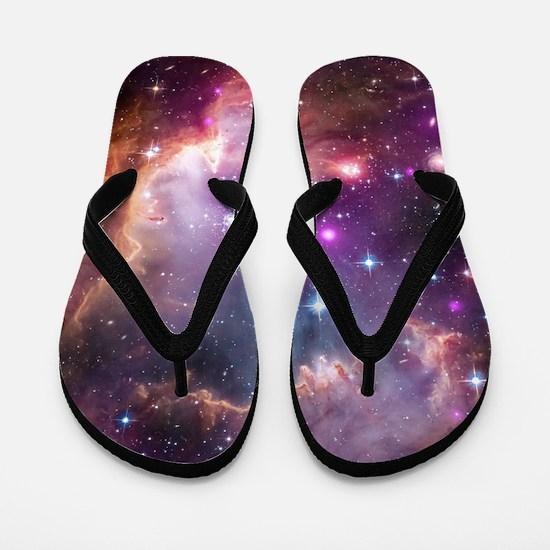 galaxy stars space nebula pink purple n Flip Flops