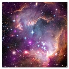 galaxy stars space nebula pink purple nasa photo p Framed Print