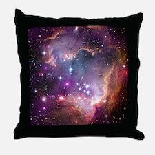 galaxy stars space nebula pink purple Throw Pillow