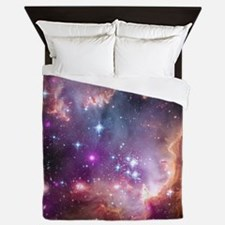 galaxy stars space nebula pink purple  Queen Duvet