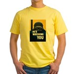 He's Watching You (Front) Yellow T-Shirt