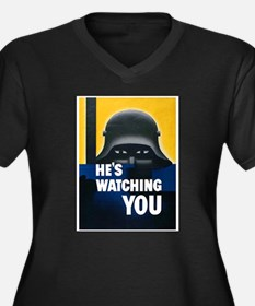 He's Watching You (Front) Women's Plus Size V-Neck