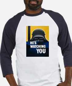 He's Watching You (Front) Baseball Jersey