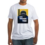 He's Watching You (Front) Fitted T-Shirt