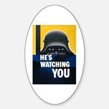 He's Watching You Oval Decal