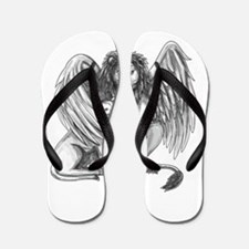 Winged Lion Protecting Cub Tattoo Flip Flops