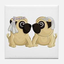 Pug Brides Tile Coaster