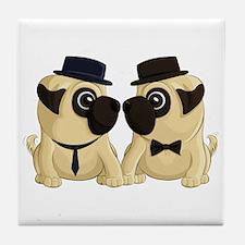 Groom Pugs Tile Coaster
