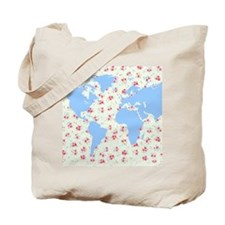 floral world map globe with petite pink r Tote Bag