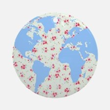 floral world map globe with petite  Round Ornament