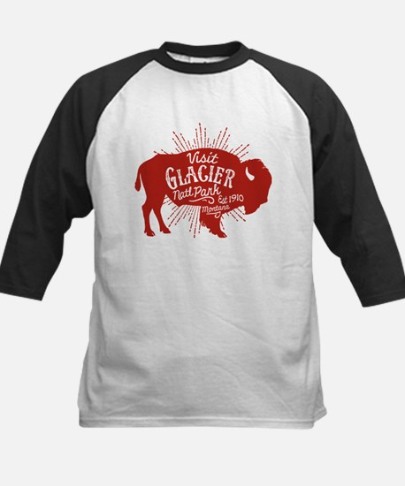 Glacier Buffalo Sunburst Red Kids Baseball Jersey