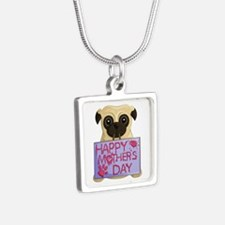 Mother's Day Pug Silver Square Necklaces
