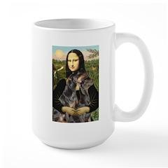 Mona's 2 Dobies Large Mug
