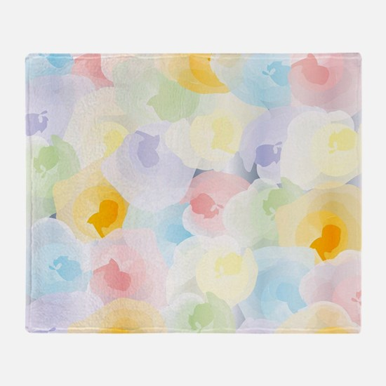 Abstract Pastel Floral Throw Blanket