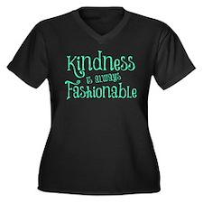 FASHIONABLE Women's Plus Size V-Neck Dark T-Shirt