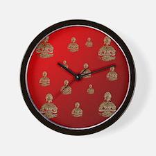 buddha in red Wall Clock