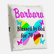 GOD LOVING 70TH Burlap Throw Pillow