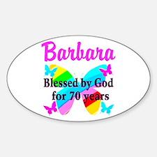 GOD LOVING 70TH Sticker (Oval)