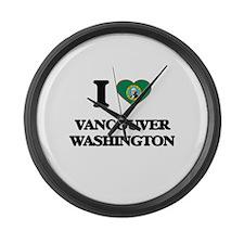 I love Vancouver Washington Large Wall Clock