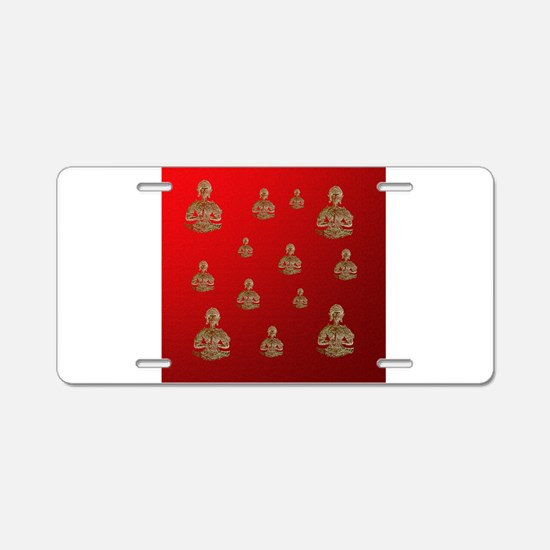 buddha in red Aluminum License Plate