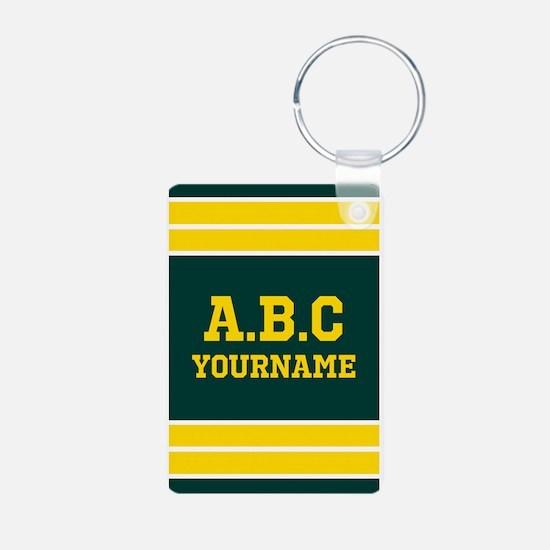 Yellow and Green Sports Je Aluminum Photo Keychain