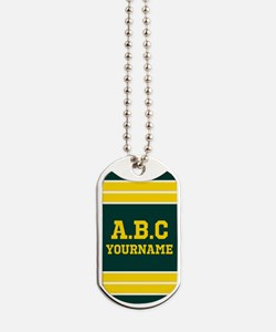 Yellow and Green Sports Jersey Stripes Pe Dog Tags