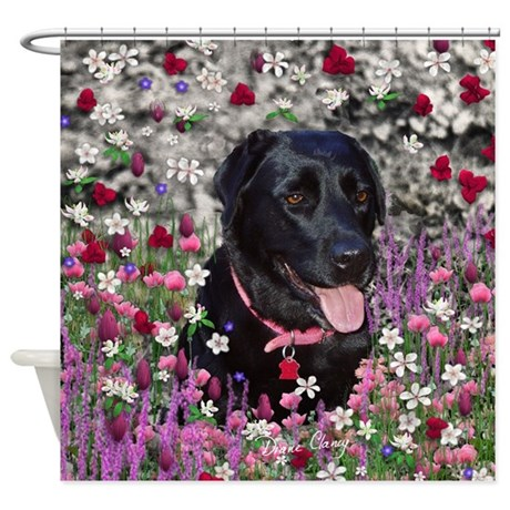 Abby The Black Labrador In Flowers Shower Curtain