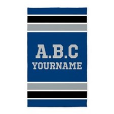 Blue Black Sports Jersey Stripes Personal Area Rug
