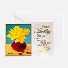 Golden daffodils birthday card for a sister Greeti