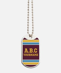 Yellow Maroon Sports Jersey Stripes Perso Dog Tags