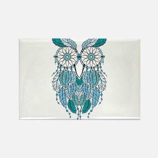 Blue dreamcatcher owl Magnets