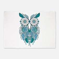 Blue dreamcatcher owl 5'x7'Area Rug