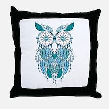 Blue dreamcatcher owl Throw Pillow