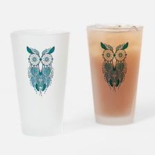 Blue dreamcatcher owl Drinking Glass