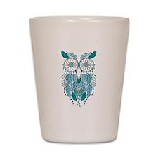 Blue dreamcatcher owl Shot Glass