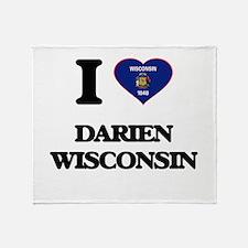 I love Darien Wisconsin Throw Blanket