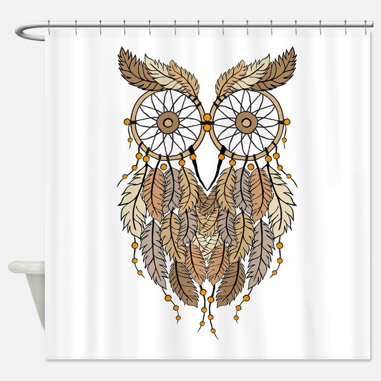 Tribal Owl Shower Curtains Tribal Owl Fabric Shower