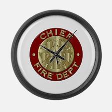 Fire chief brass sybol Large Wall Clock