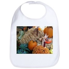 Harvest bounty of gourds, mums and pumpkins Bib
