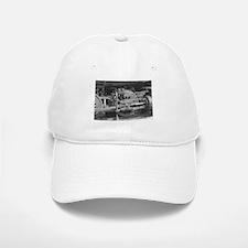 Old train black and white Baseball Baseball Cap