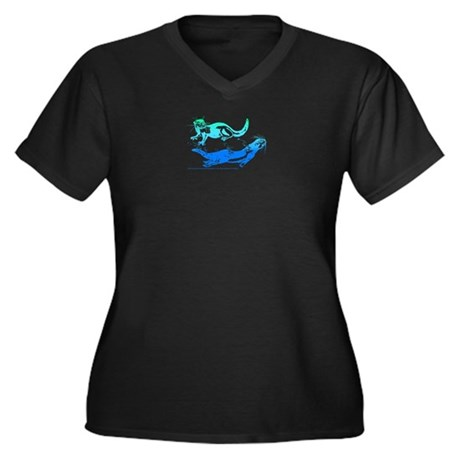 Otters Aquamarine Women's Plus Size V-Neck Dark T-