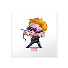 "Chibi Hawkeye Stylized Square Sticker 3"" x 3"""