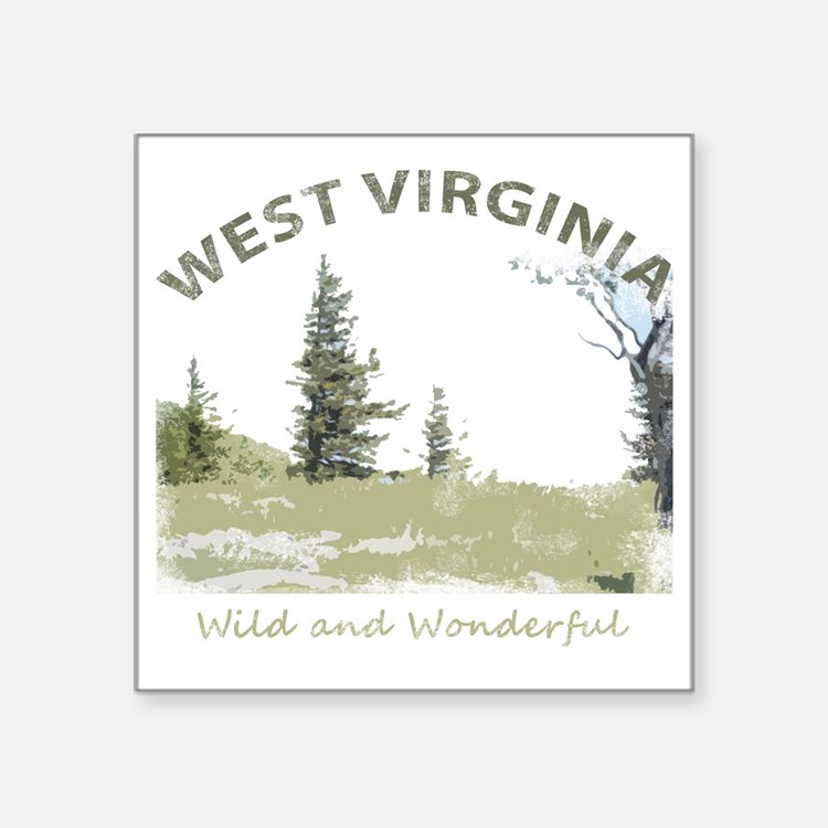 "West Virginia Square Sticker 3"" x 3"""